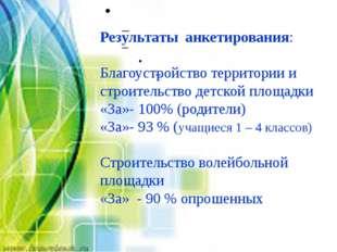 Результаты анкетирования: Благоустройство территории и строительство детской