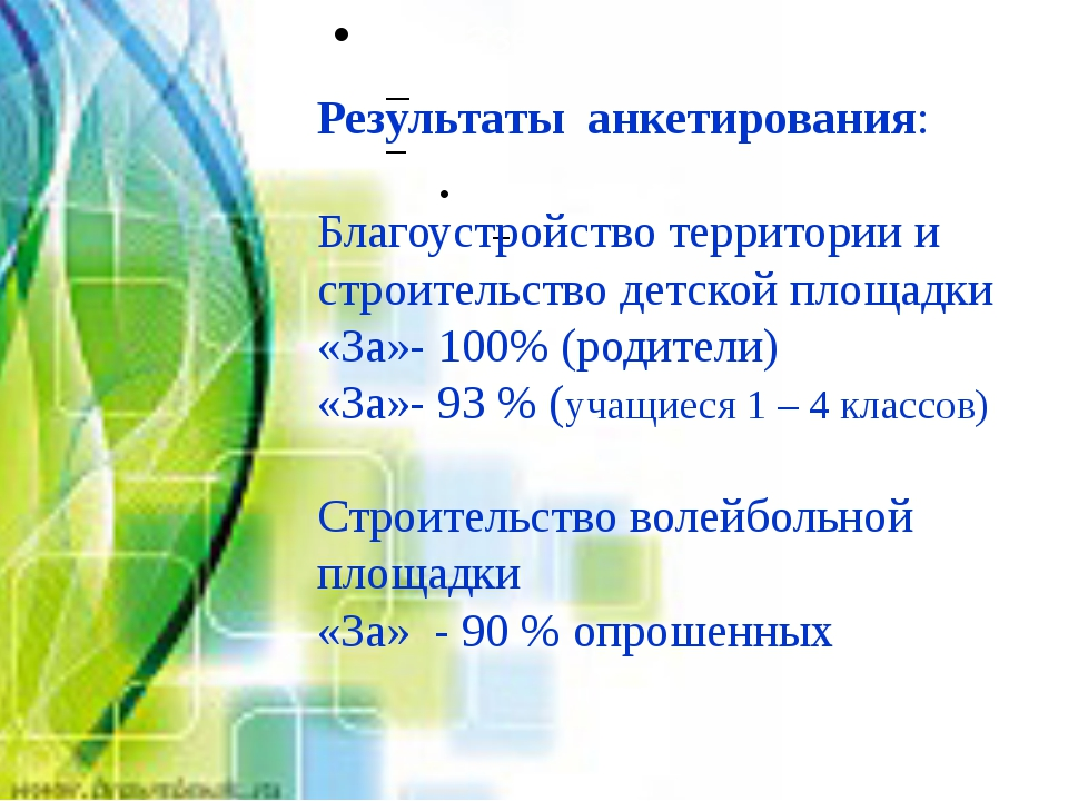 Результаты анкетирования: Благоустройство территории и строительство детской...