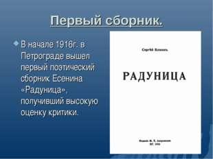 Первый сборник. В начале 1916г. в Петрограде вышел первый поэтический сборник