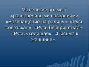 Маленькие поэмы с красноречивыми названиями «Возвращение на родину», «Русь со