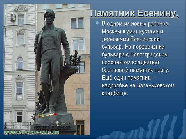 Памятник Есенину. В одном из новых районов Москвы шумит кустами и деревьями Е...