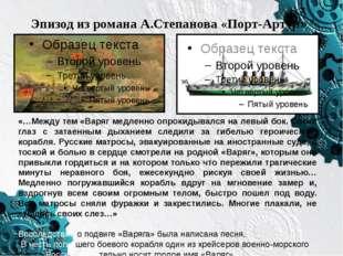 Эпизод из романа А.Степанова «Порт-Артур» «…Между тем «Варяг медленно опрокид
