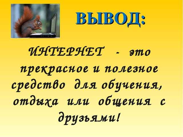 ВЫВОД: ИНТЕРНЕТ - это прекрасное и полезное средство для обучения, отдыха ил...