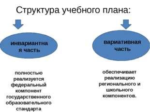 Структура учебного плана: инвариантная часть вариативная часть полностью реал