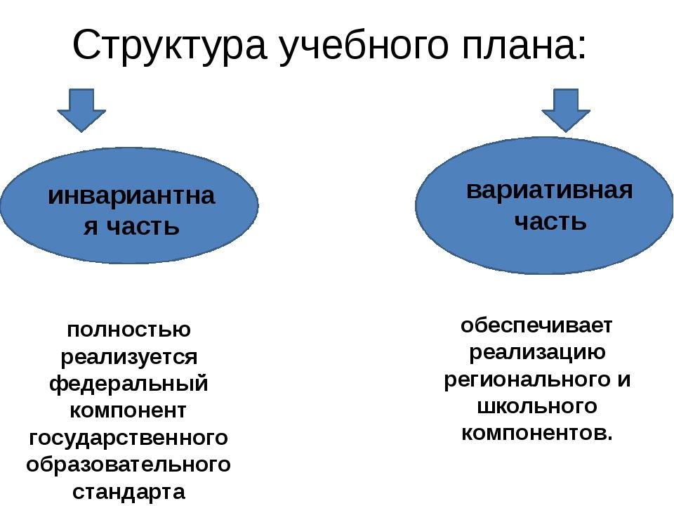 Структура учебного плана: инвариантная часть вариативная часть полностью реал...