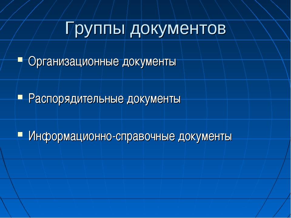 Группы документов Организационные документы Распорядительные документы Информ...