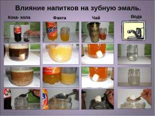 Кока- кола Фанта Вода Чай Влияние напитков на зубную эмаль.