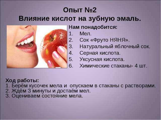 Опыт №2 Влияние кислот на зубную эмаль. Нам понадобится: Мел. Сок «Фруто НЯН...
