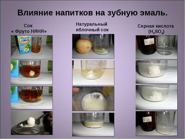 Влияние напитков на зубную эмаль. Сок « Фруто НЯНЯ» Натуральный яблочный сок...