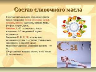 Состав сливочного масла В составе натурального сливочного масла также содержа