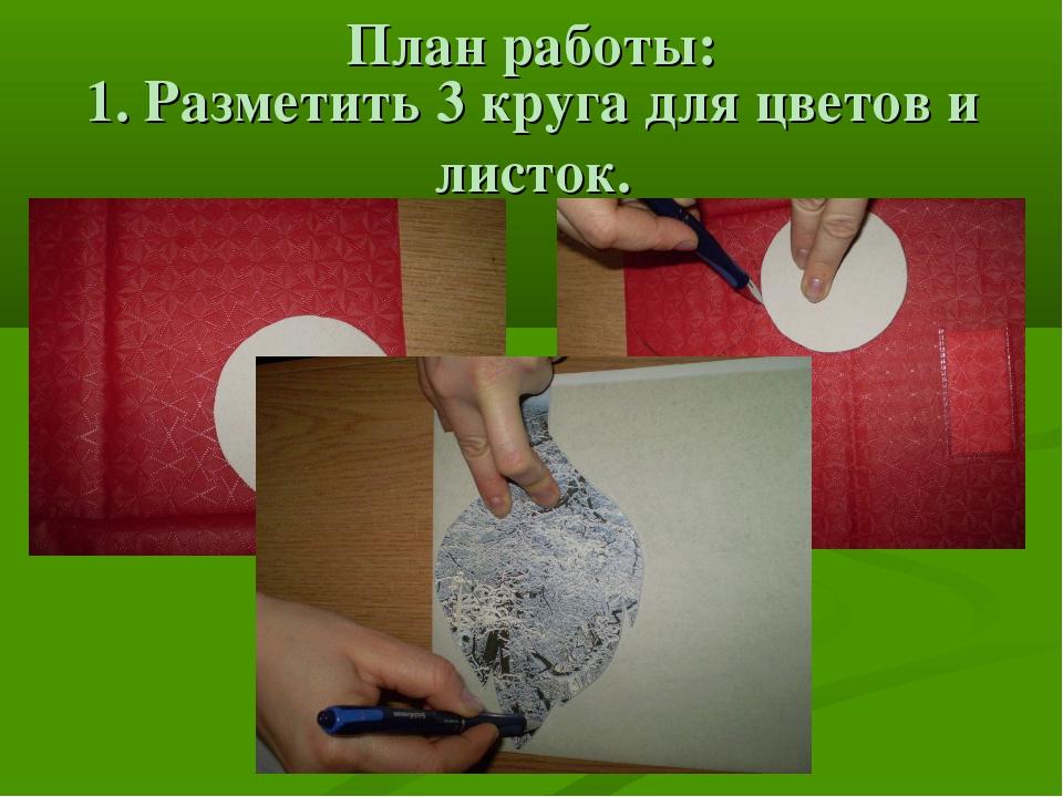 План работы: 1. Разметить 3 круга для цветов и листок.