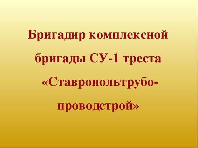 Бригадир комплексной бригады СУ-1 треста «Ставропольтрубо- проводстрой»