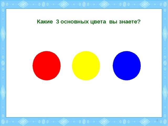 Какие 3 основных цвета вы знаете? *