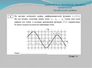 Уровни ЕГЭ по математике: базовый и профильный. Профильный уровень Ответ: -0,8