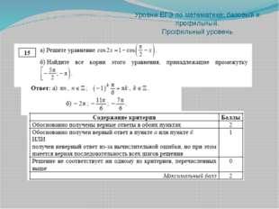 Уровни ЕГЭ по математике: базовый и профильный. Профильный уровень