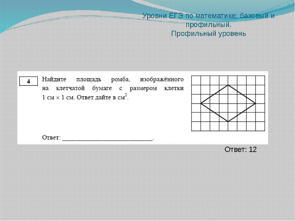 Уровни ЕГЭ по математике: базовый и профильный. Профильный уровень Ответ: 9