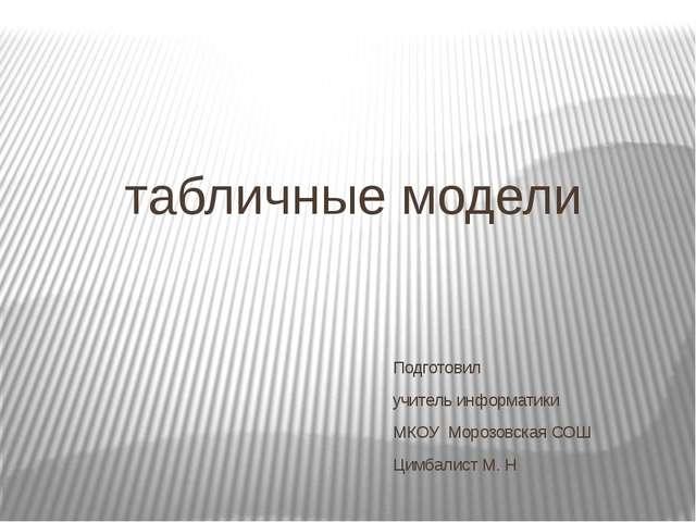 табличные модели Подготовил учитель информатики МКОУ Морозовская СОШ Цимбалис...