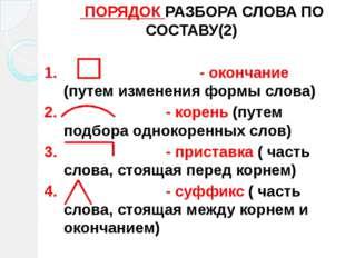 ПОРЯДОК РАЗБОРА СЛОВА ПО СОСТАВУ(2) 1. - окончание (путем изменения формы