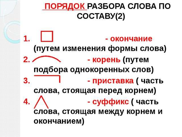 ПОРЯДОК РАЗБОРА СЛОВА ПО СОСТАВУ(2) 1. - окончание (путем изменения формы...