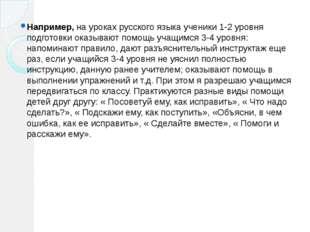 Например, на уроках русского языка ученики 1-2 уровня подготовки оказывают по