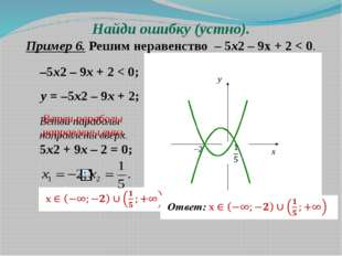 Найди ошибку (устно). Пример 6. Решим неравенство – 5х2 – 9х + 2 < 0. –5x2 –