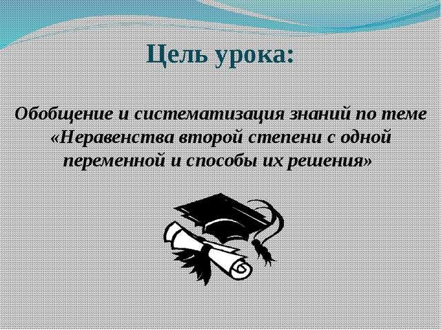 Цель урока: Обобщение и систематизация знаний по теме «Неравенства второй сте...