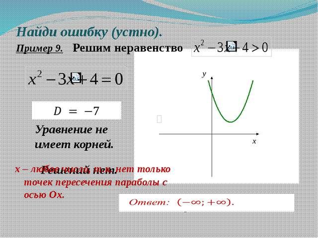 Найди ошибку (устно). Пример 9. Решим неравенство Решений нет. Ответ: решений...