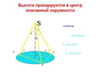 Высота проецируется в центр описанной окружности Свойства s A B C 1 2 3 6 4 5