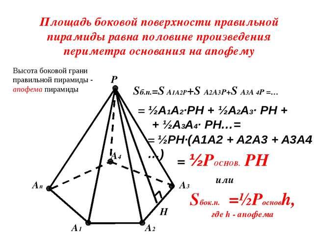 Площадь боковой поверхности правильной пирамиды равна половине произведения п...