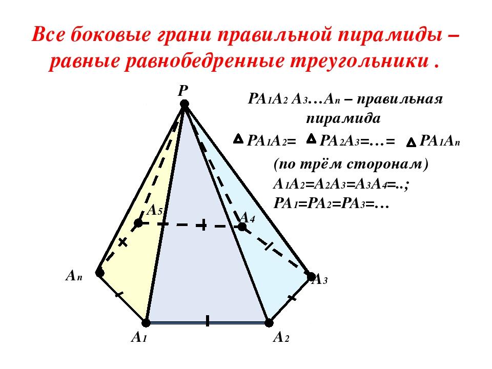 PA2A3=…= PA1A2= Все боковые грани правильной пирамиды – равные равнобедренны...
