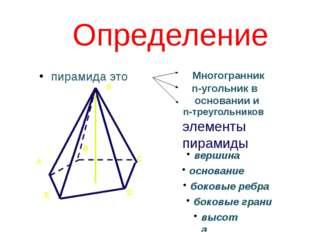 Определение пирамида это n-треугольников элементы пирамиды S B C D E А вершин