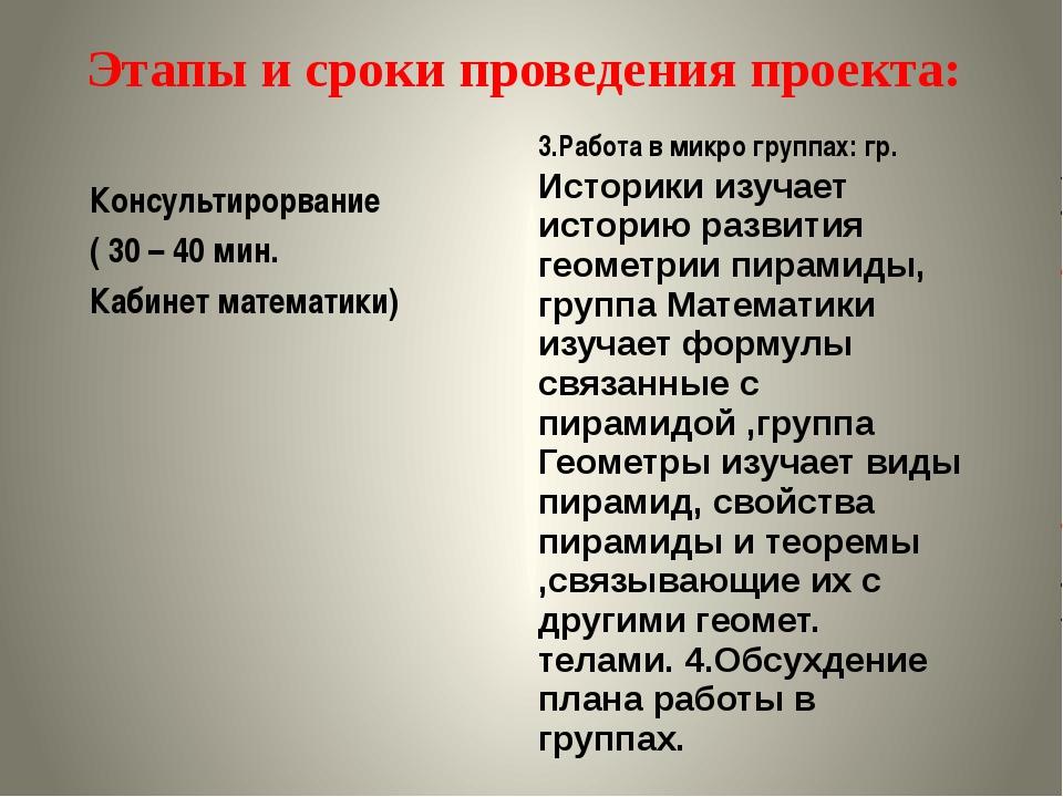 Этапы и сроки проведения проекта: 3.Работа в микро группах: гр.Историки изуч...