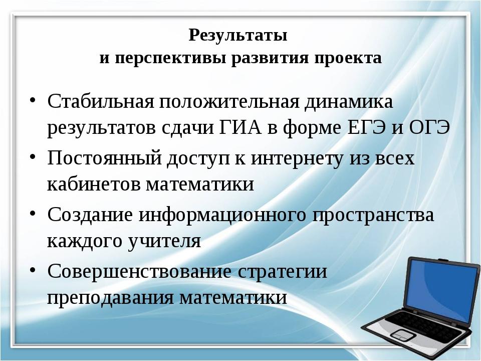 Результаты и перспективы развития проекта Стабильная положительная динамика р...