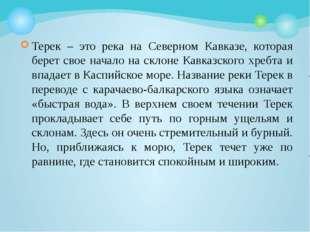 Терек – это река на Северном Кавказе, которая берет свое начало на склоне Кав