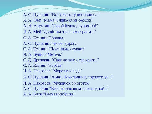 "А. С. Пушкин. ""Вот север, тучи нагоняя..."" А. А. Фет. ""Мама! Глянь-ка из окош..."