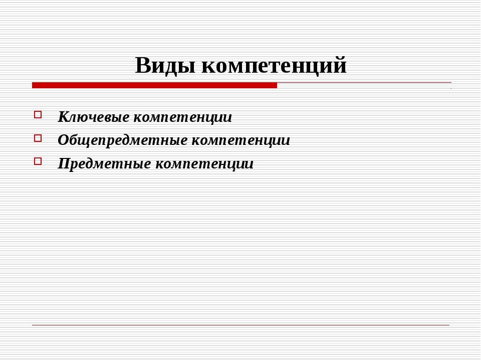 Виды компетенций Ключевые компетенции Общепредметные компетенции Предметные к...