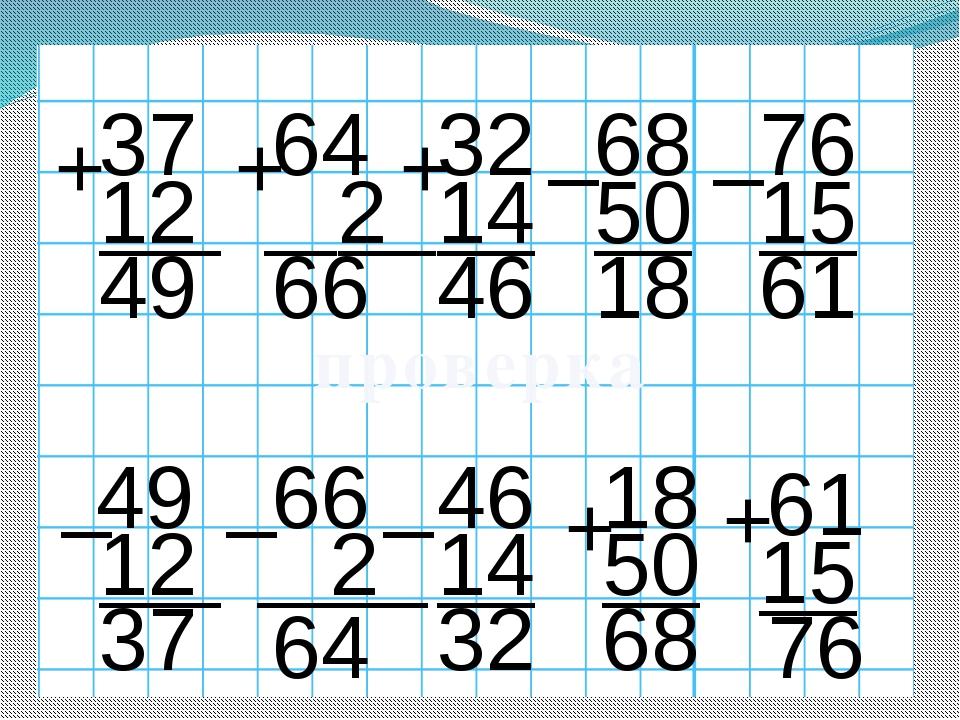 37 12 + 64 + 2 32 + 14 68 _ 50 76 _ 15 49 66 46 18 61 проверка 49 _ 12 37 66...