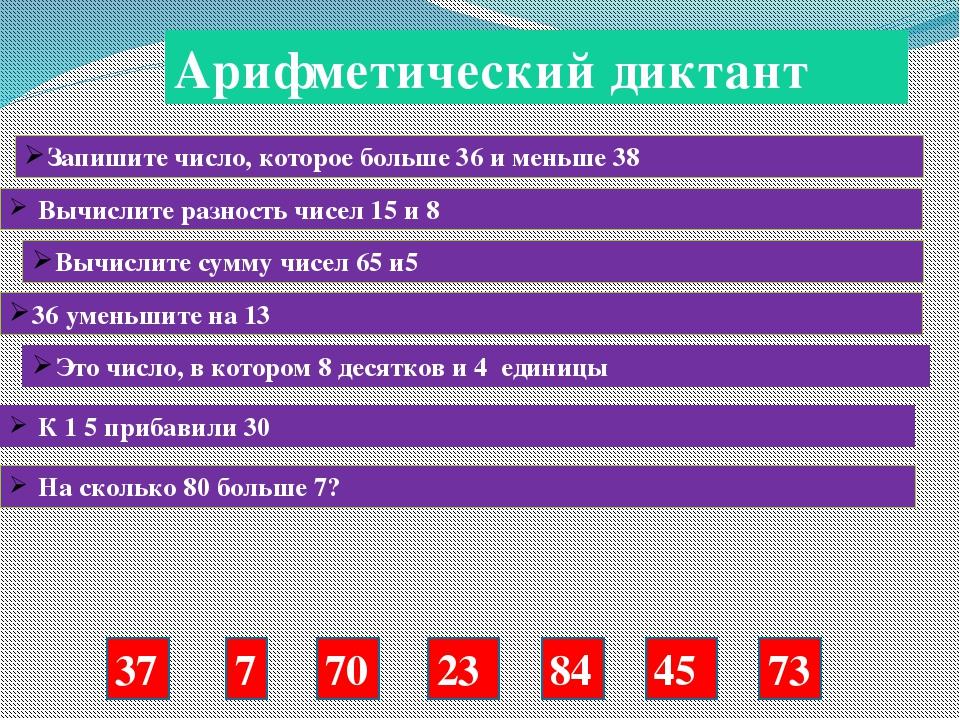 Арифметический диктант Запишите число, которое больше 36 и меньше 38 Вычислит...