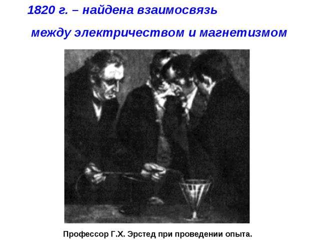 Профессор Г.Х. Эрстед при проведении опыта. 1820 г. – найдена взаимосвязь меж...