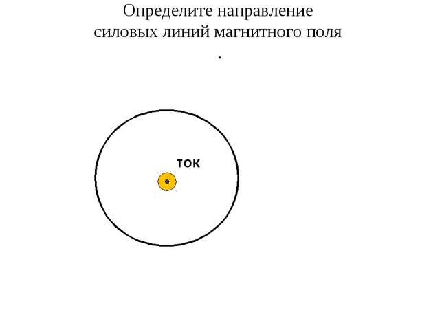Определите направление силовых линий магнитного поля . ток