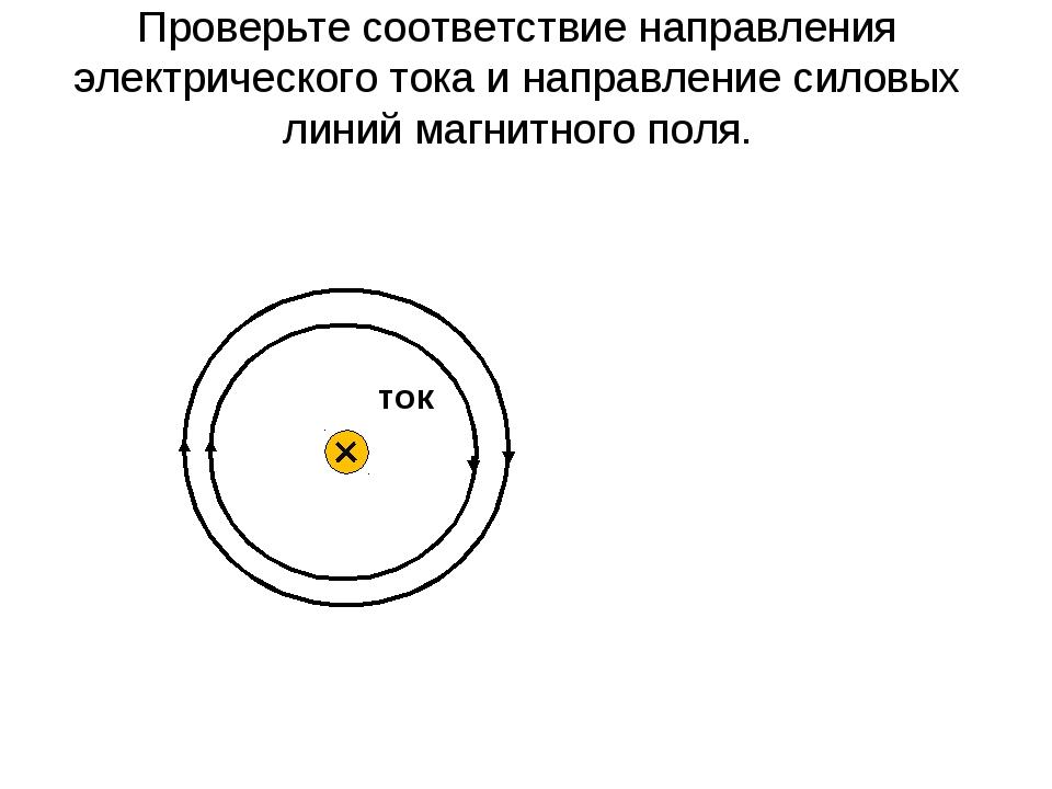 Проверьте соответствие направления электрического тока и направление силовых...
