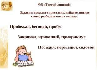 №5 «Третий лишний» Задание: выделите приставку, найдите лишнее слово, разбери