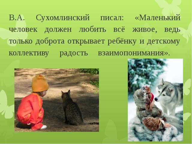 В.А. Сухомлинский писал: «Маленький человек должен любить всё живое, ведь тол...