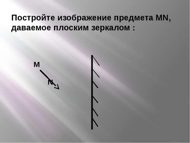Постройте изображение предмета MN, даваемое плоским зеркалом : M N