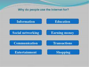 Why do people use the Internet for? Information Social networking Earning mon