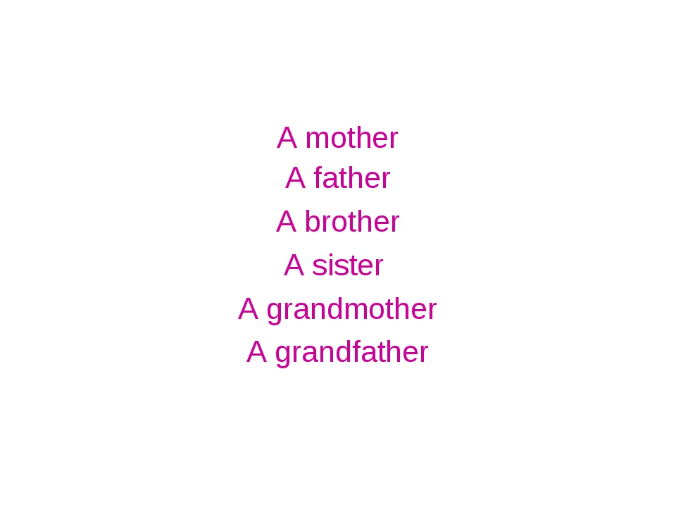 A mother A father A brother A sister A grandmother A grandfather