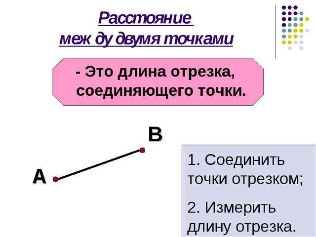 Расстояние между двумя точками - Это длина отрезка, соединяющего точки. А В