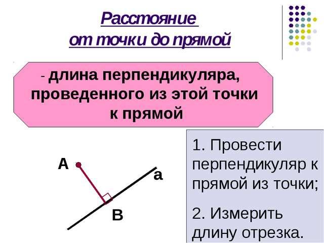 Расстояние от точки до прямой - длина перпендикуляра, проведенного из этой то...