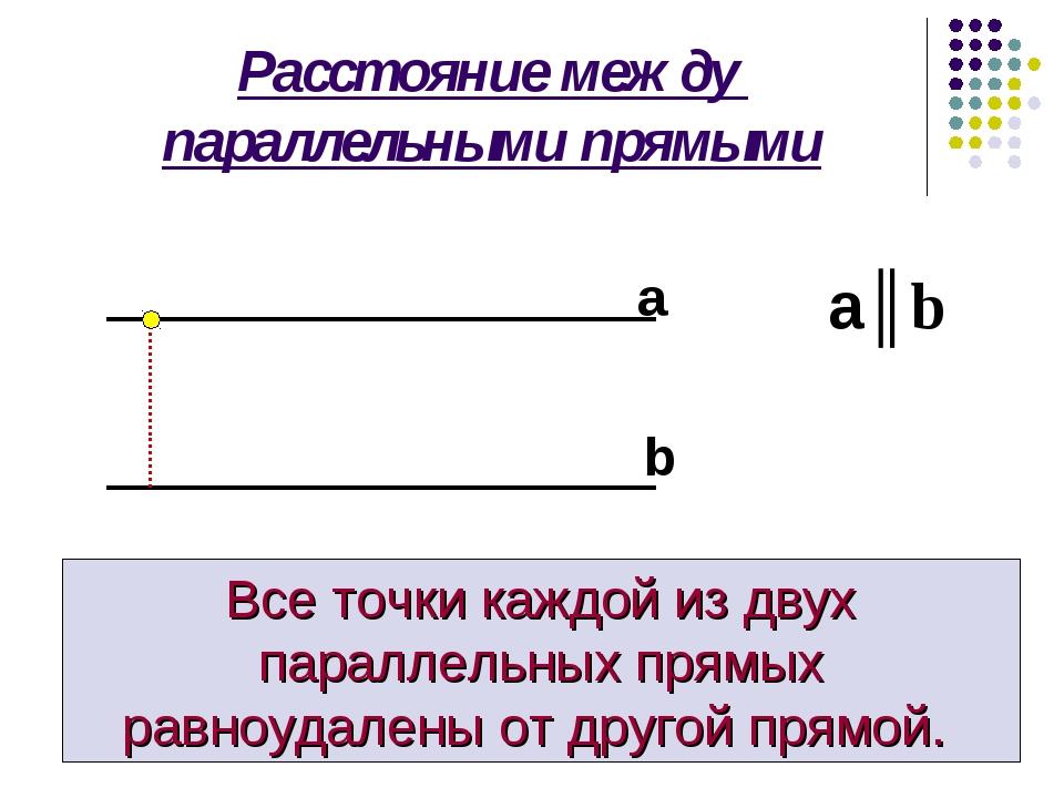 Расстояние между параллельными прямыми Все точки каждой из двух параллельных...