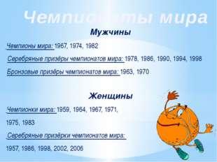 Женщины Чемпионки мира: 1959, 1964, 1967, 1971, 1975, 1983 Серебряные призёрк